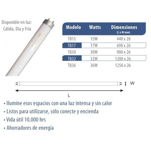 bombillo tubo fluorescente lineal 32w t8 6500k luz día
