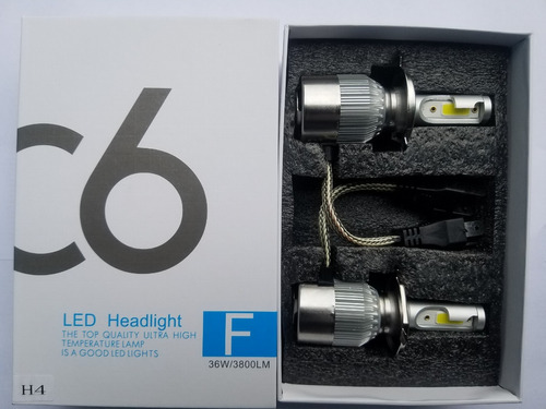 bombillos luces led c6 h4 7600lm 72w alta/baja originales