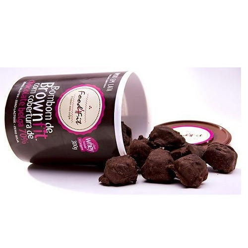 bombom brownie fit lata pote 300g whey colágeno food4fit