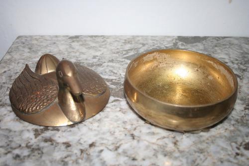 bombonera joyero escultura pato cisne ganso bronce con tapa