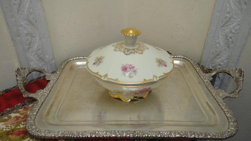 bombonera porcelana bavaria antigua realce con oro mirala