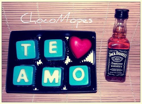 bombones de chocolate  te amo   + jack daniels