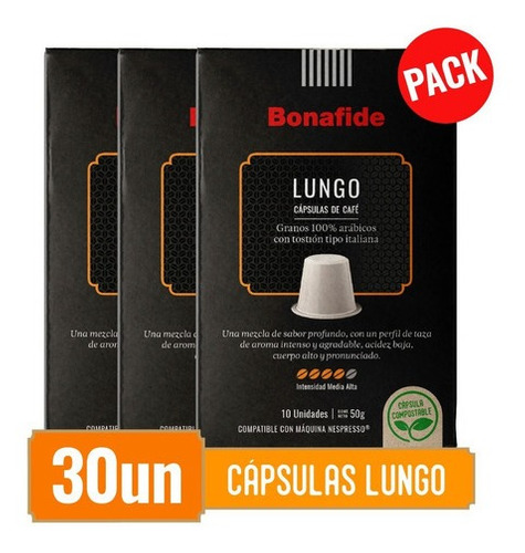 bonafide pack cápsulas de café - lungo 30 unidades