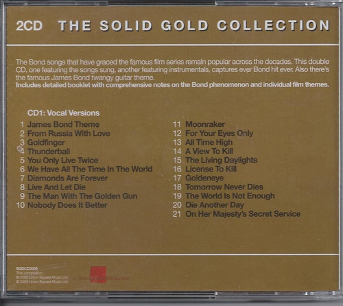 bond themes  the solid gold collection importado 2 cd´s