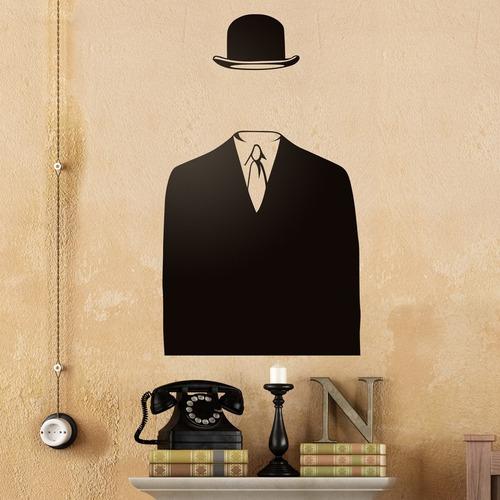 bondai vinilos decorativos arte deco magritte sombrero traje