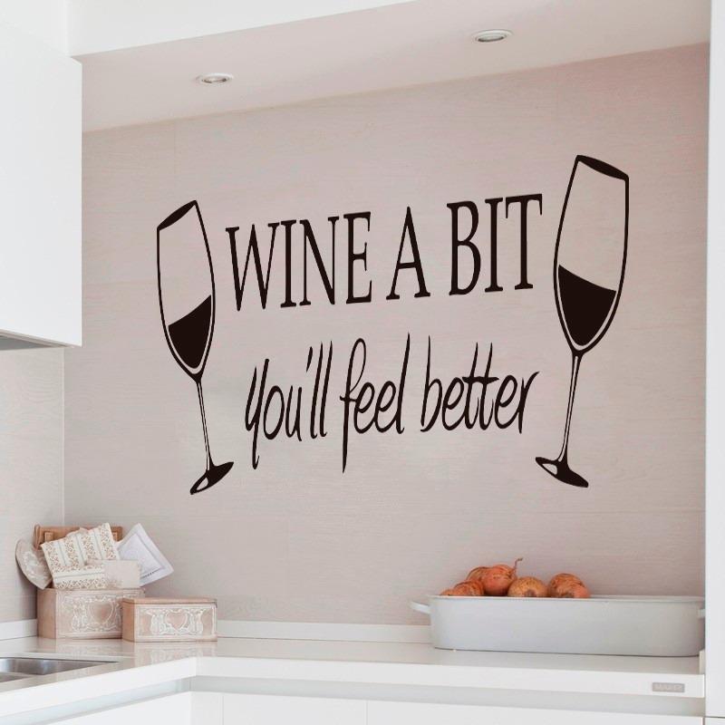 Bondai Vinilos Decorativos Frase Cocina Vino Wine