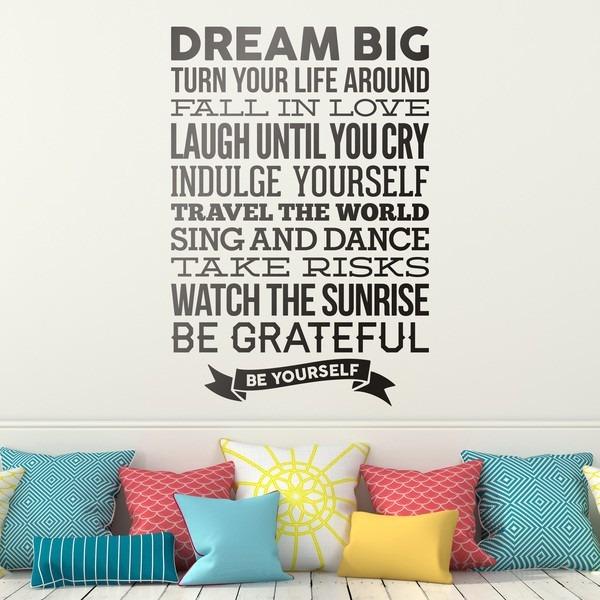 Bondai Vinilos Frase Ingles Dream Big Sueña Grande Sueño