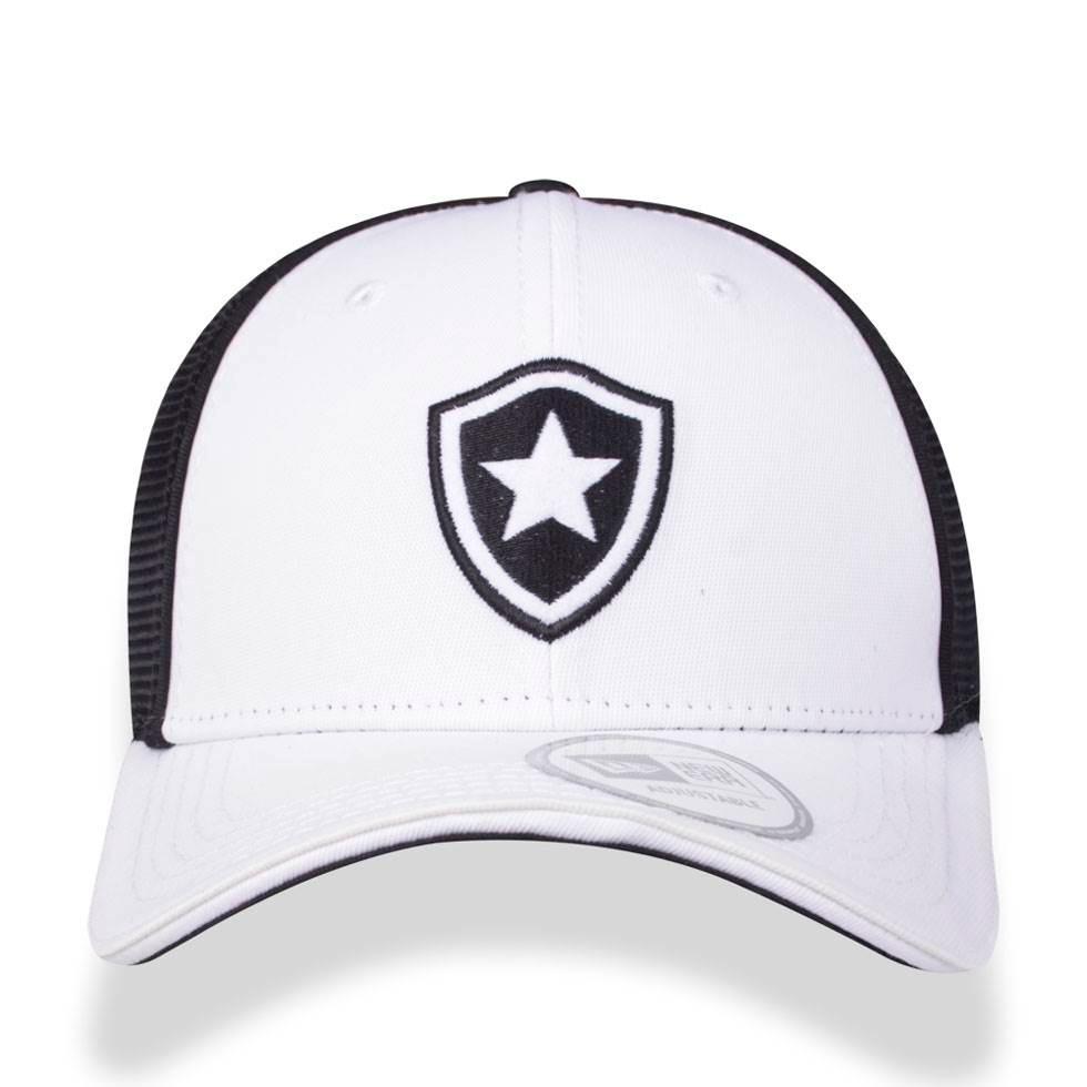 0c0607bb37 Bone 3930 Botafogo Futebol Aba Curva Branco preto New Era - R  77