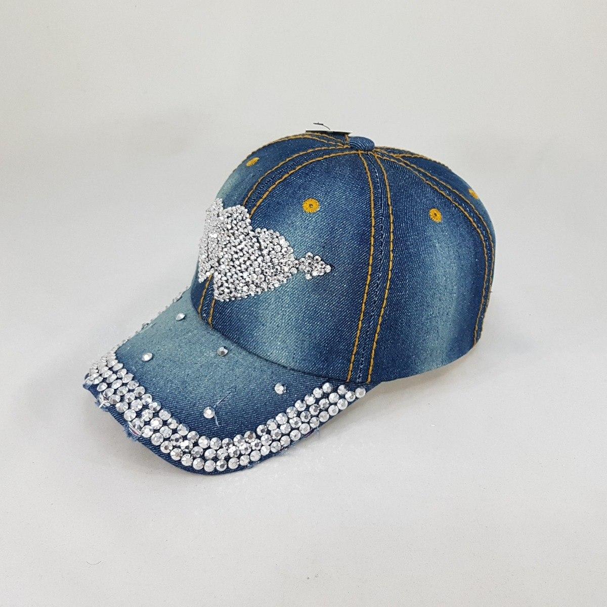 boné aba curva jeans pedraria strass feminino dois corações. Carregando  zoom. 58933055211