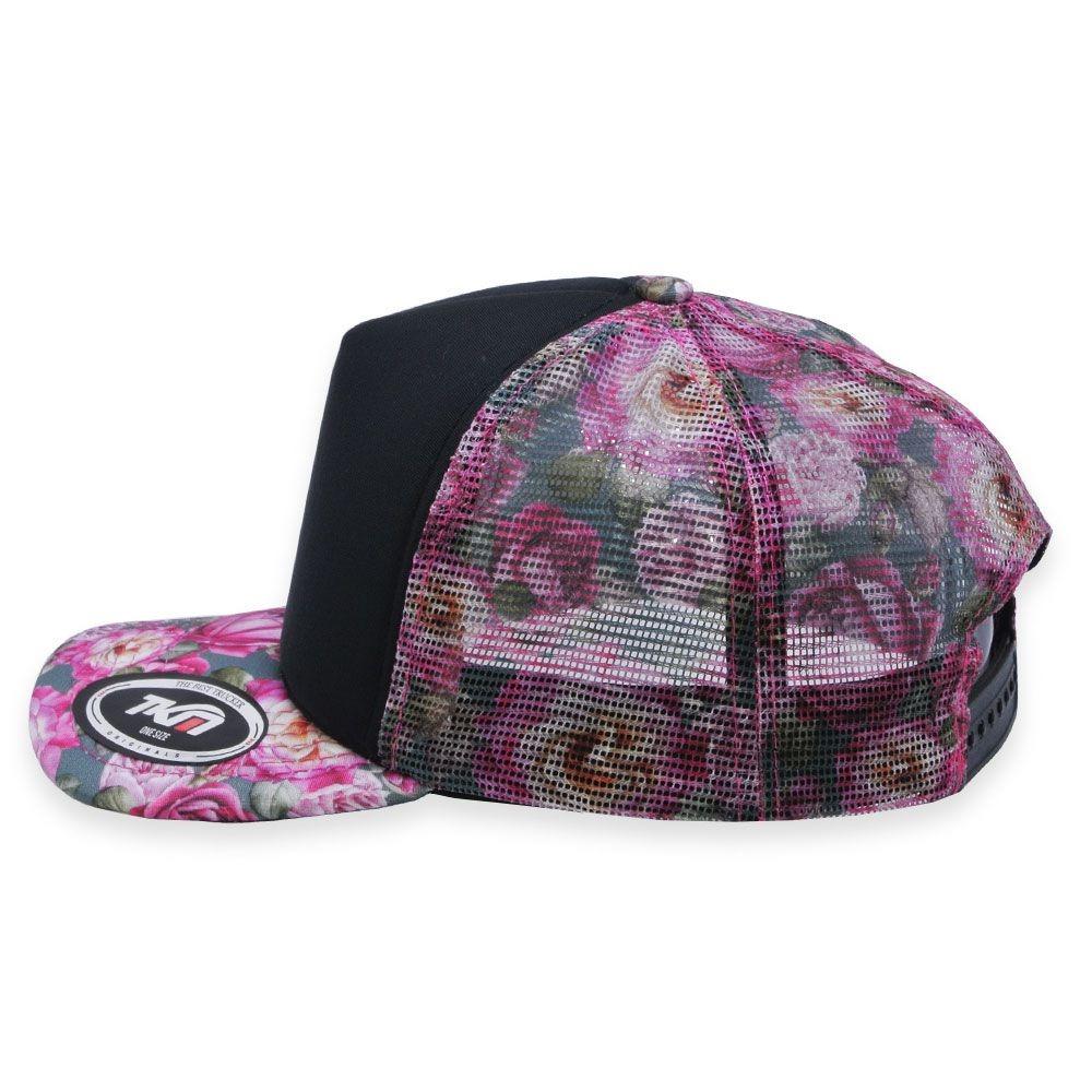 boné aba curva tkn trucker floral rosa. Carregando zoom. 81b34ca2fa2e5