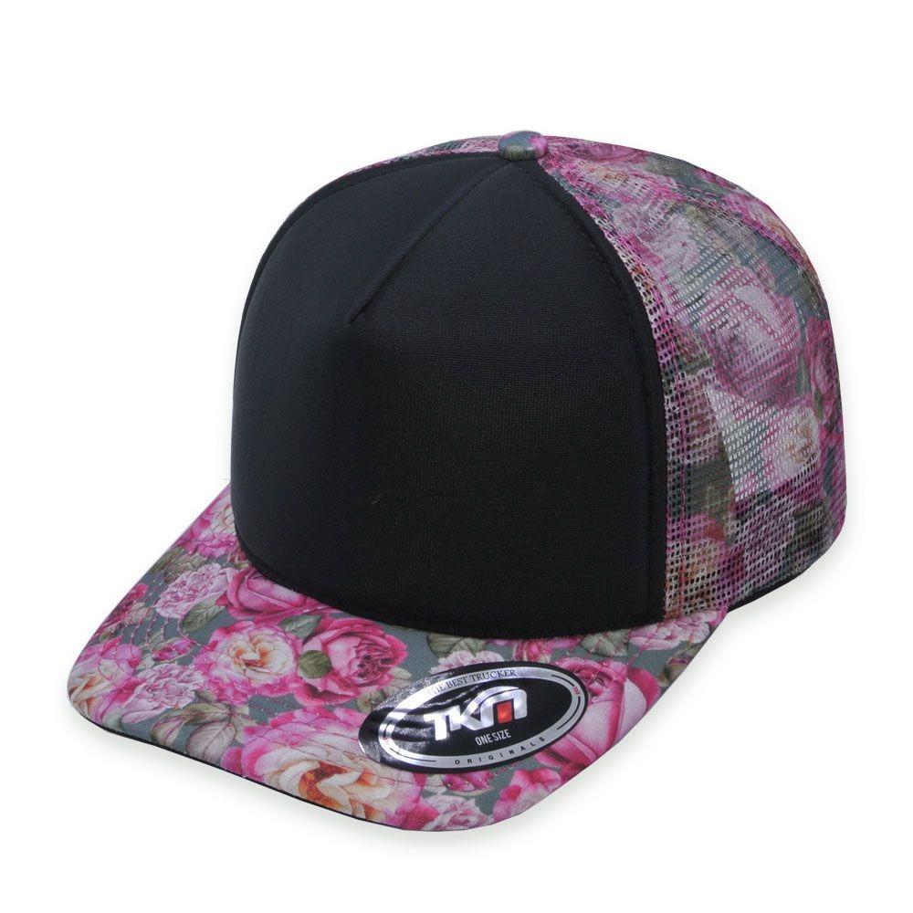 boné aba curva tkn trucker floral rosa. Carregando zoom. 996ad101cd1