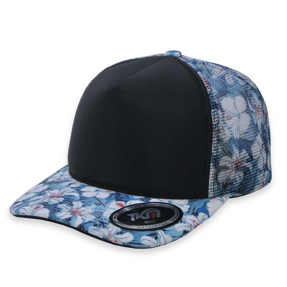 boné aba curva tkn trucker hibisco floral azul. Carregando zoom. 2187fc327e4