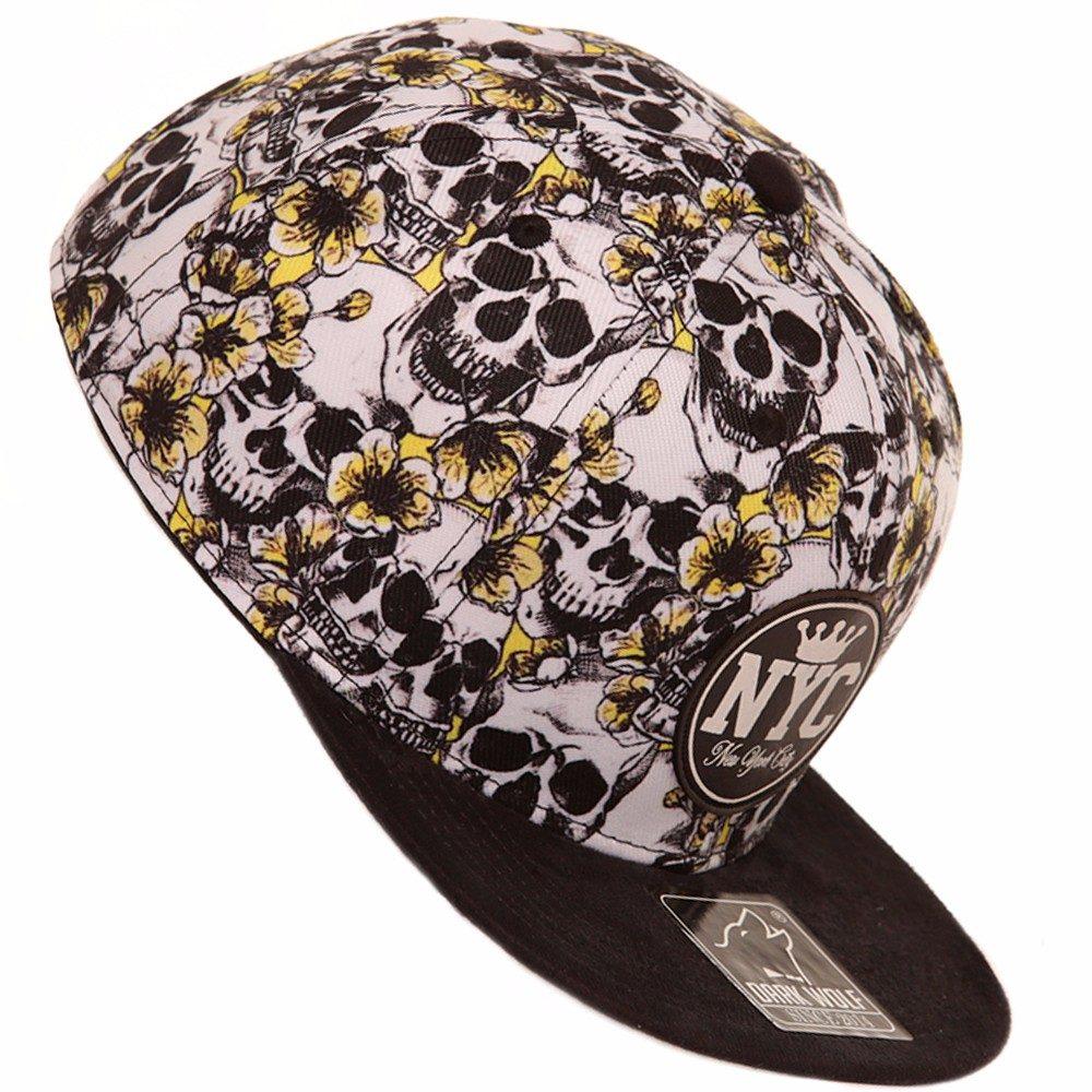 boné aba reta e camurça snap back floral florido e caveira.2. Carregando  zoom. c44b0c7145fe4