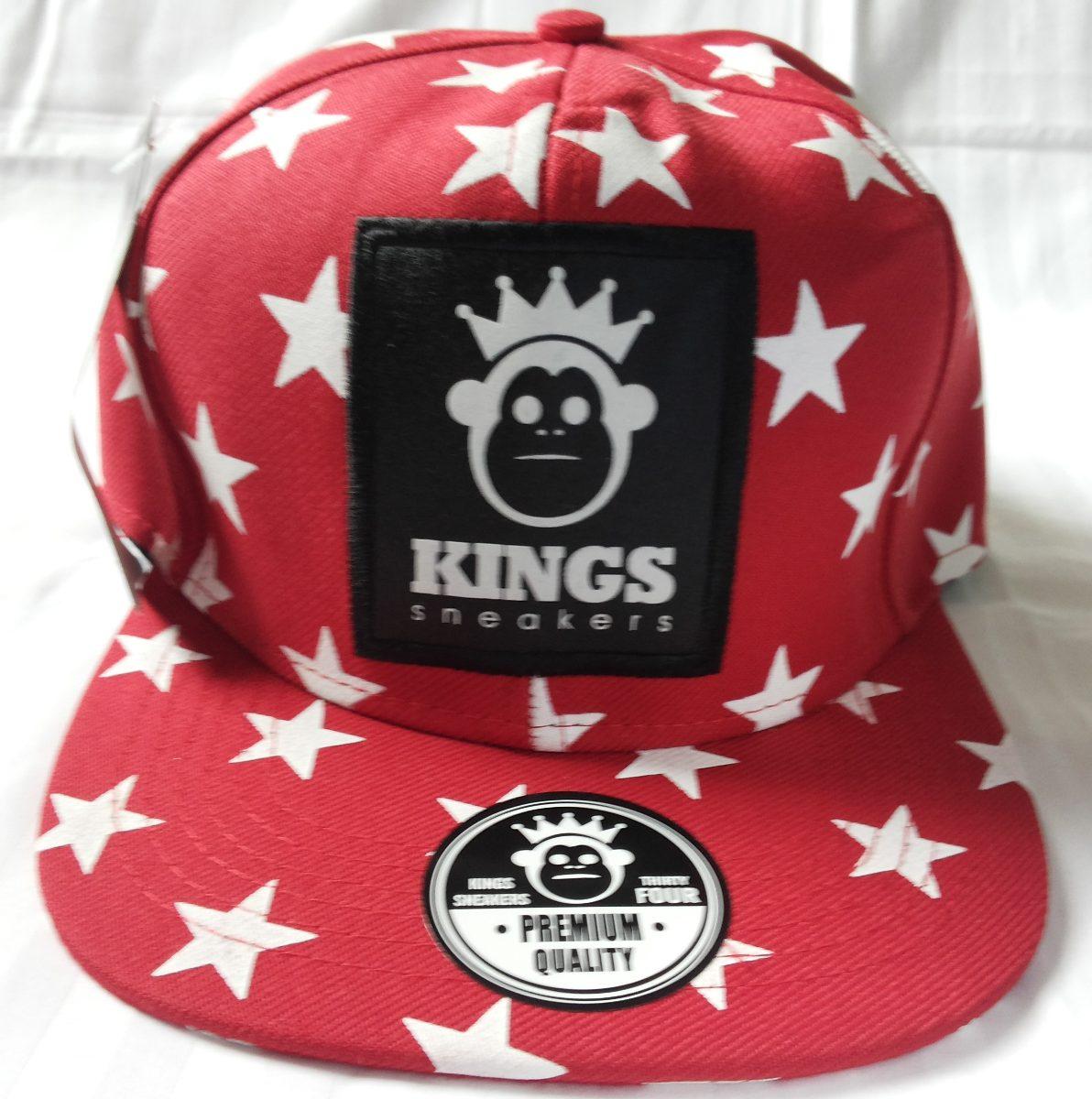 bb92c12832fa9 Boné Aba Reta Estrelado Kings Star Monkey Vermelho Branco - R  39