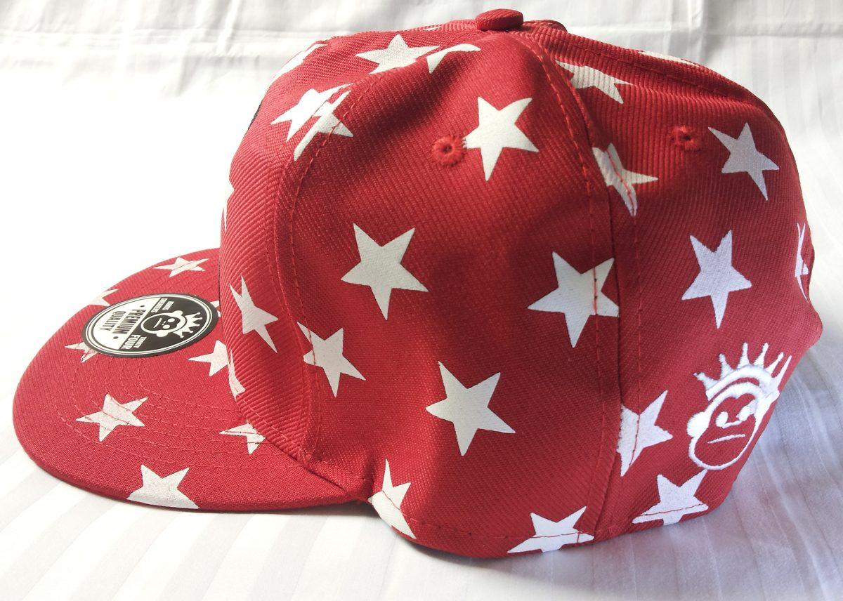 4454ca716d255 Boné Aba Reta Estrelado Kings Star Monkey Vermelho Branco - R  39