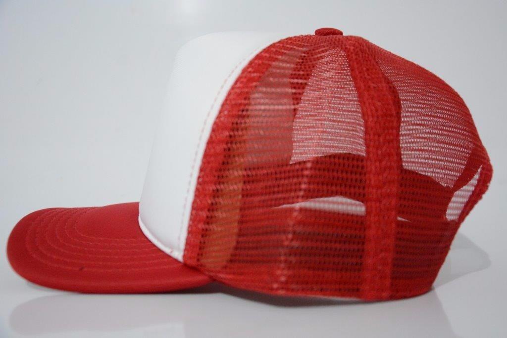 d0f256761fae1 boné aba reta liso branco com vermelho trucker telinha tkm. Carregando zoom.