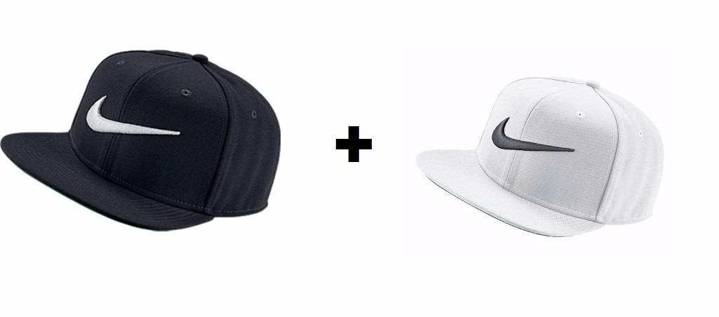Bone Aba Reta Nike Pro Branco + Bone Nike Preto 100%original - R  214 fd4901ee7deb7