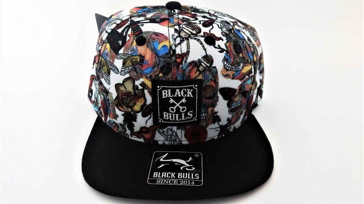 77c2c3c81e671 boné aba reta snapback estampado black bulls b-3 caveira. Carregando zoom.