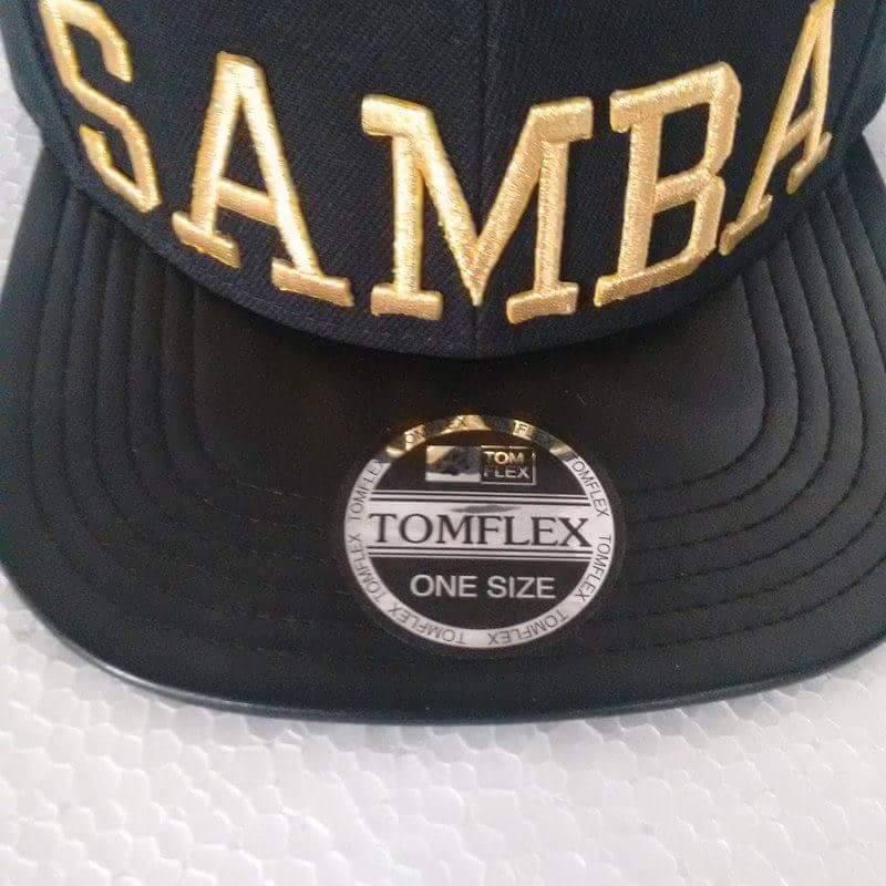 Boné Aba Reta Strapback Samba Preto dourado - R  69 fbcf2448105