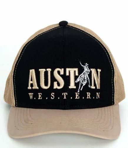boné austin western preto com tela bege