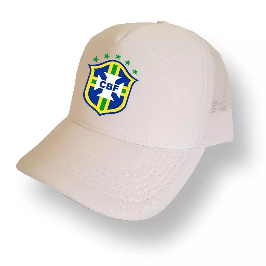 Boné Branco Seleção Brasil Trucker Telinha Aba Curva Bon - R  34 ff078974641