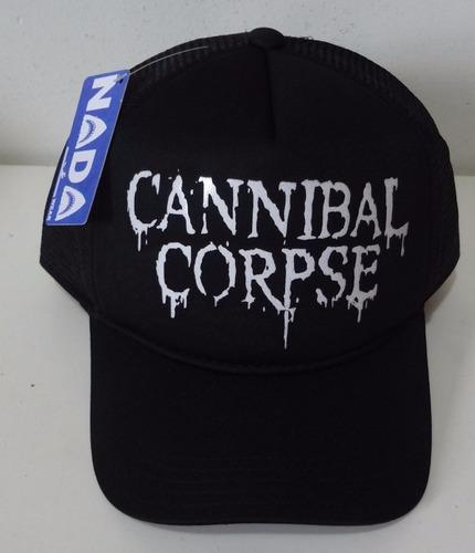boné  cannibal corpse death metal trucker cap tela
