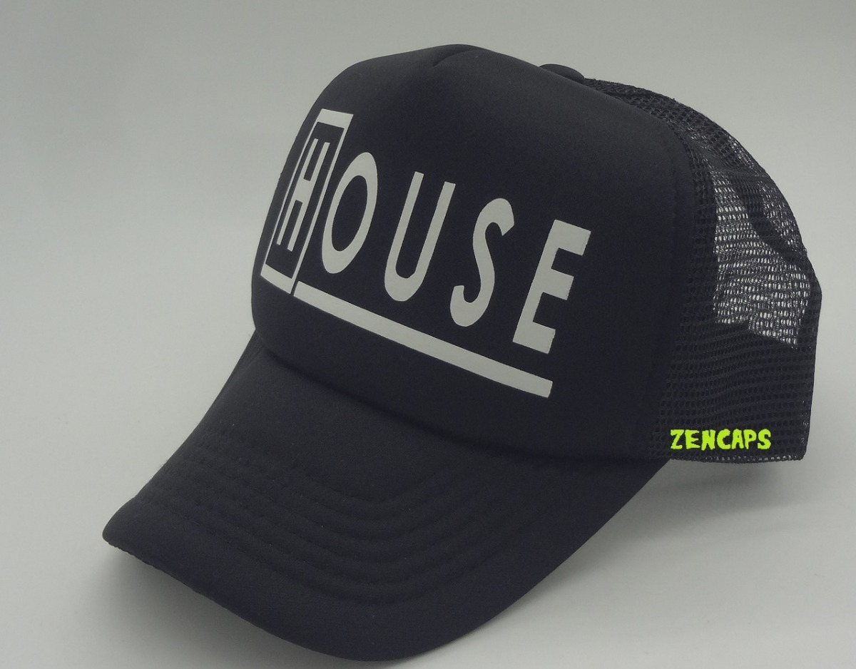 372fec4b52281 boné dr house seriado trucker cap aba curva preto. Carregando zoom.
