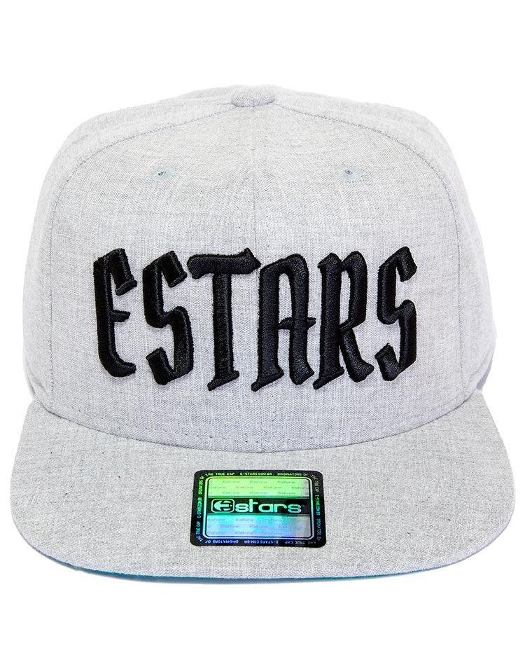 Boné E-stars Snapback Aba Reta Cinza Claro - R  106 2aebb6ed5eb