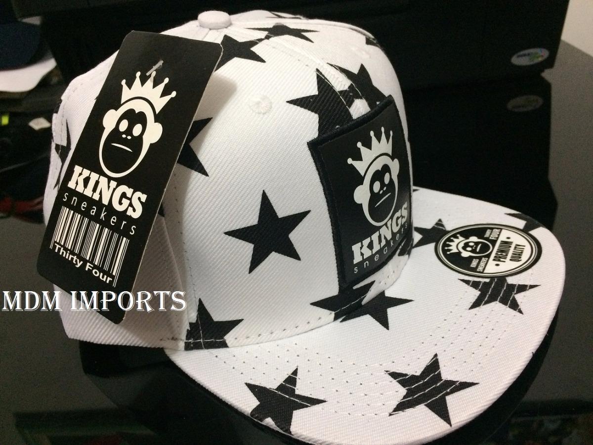 bone estrela preto e branco kings sneakers snapback aba reta. Carregando  zoom. f3485bdbc63