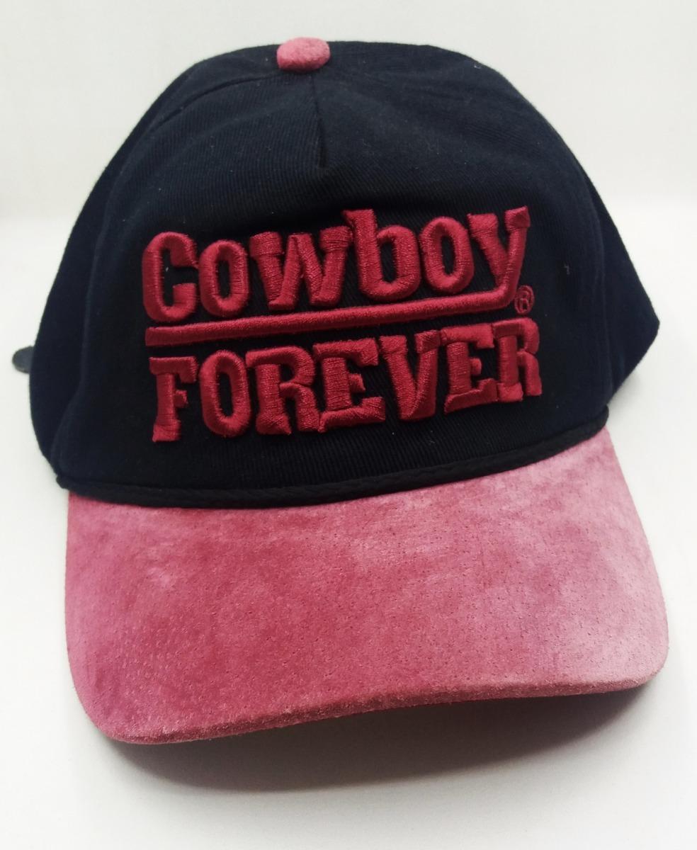 2cc046f6a661f boné feminino cowboy forever preto cereja aba de couro. Carregando zoom.