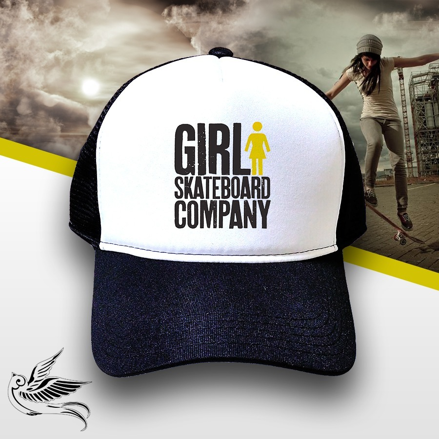 boné girl skateboard company trucker snapback preto. Carregando zoom. 6e0637a484e