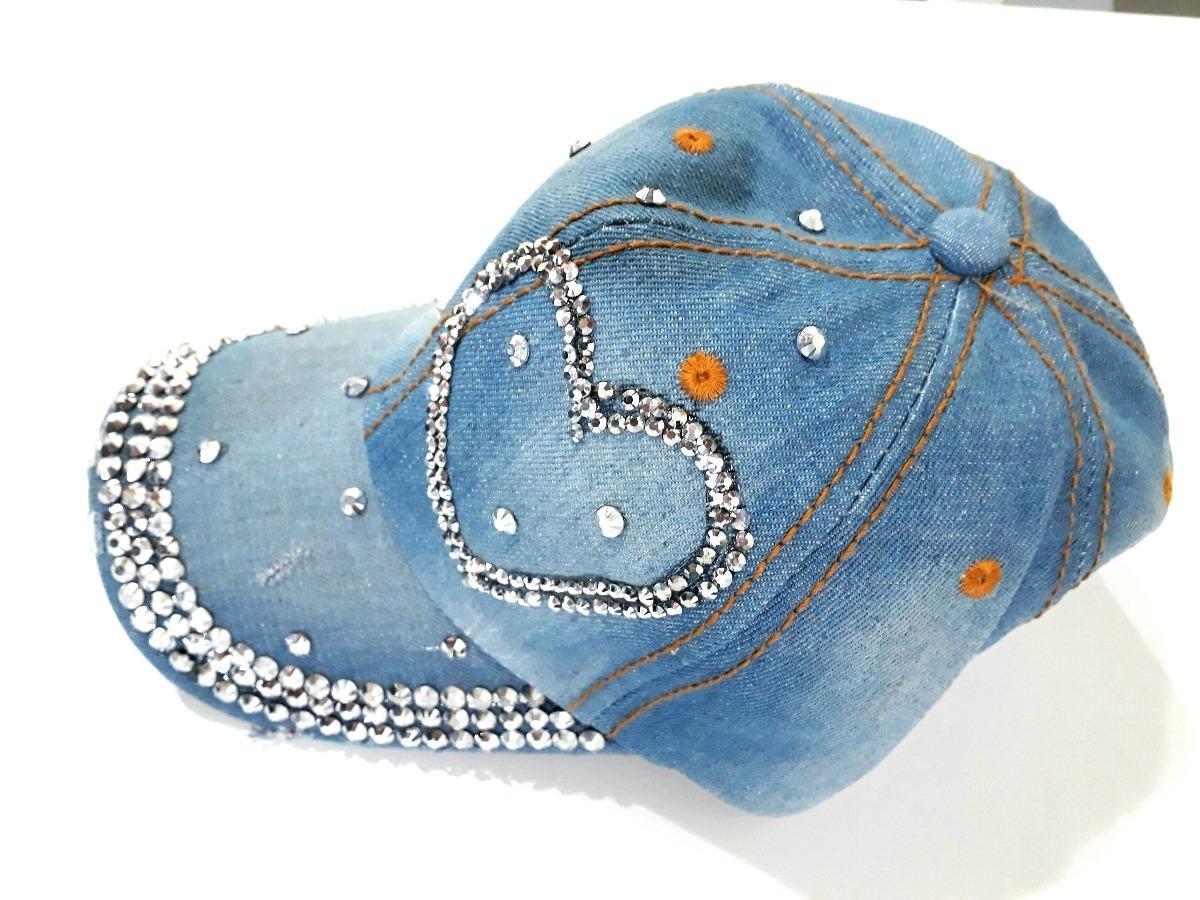 boné jeans com strass pedraria coração delicado. Carregando zoom. b97fd03e6a1