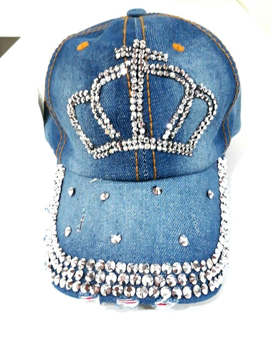 boné jeans com strass pedraria rainha delicado. Carregando zoom. fca12b43677