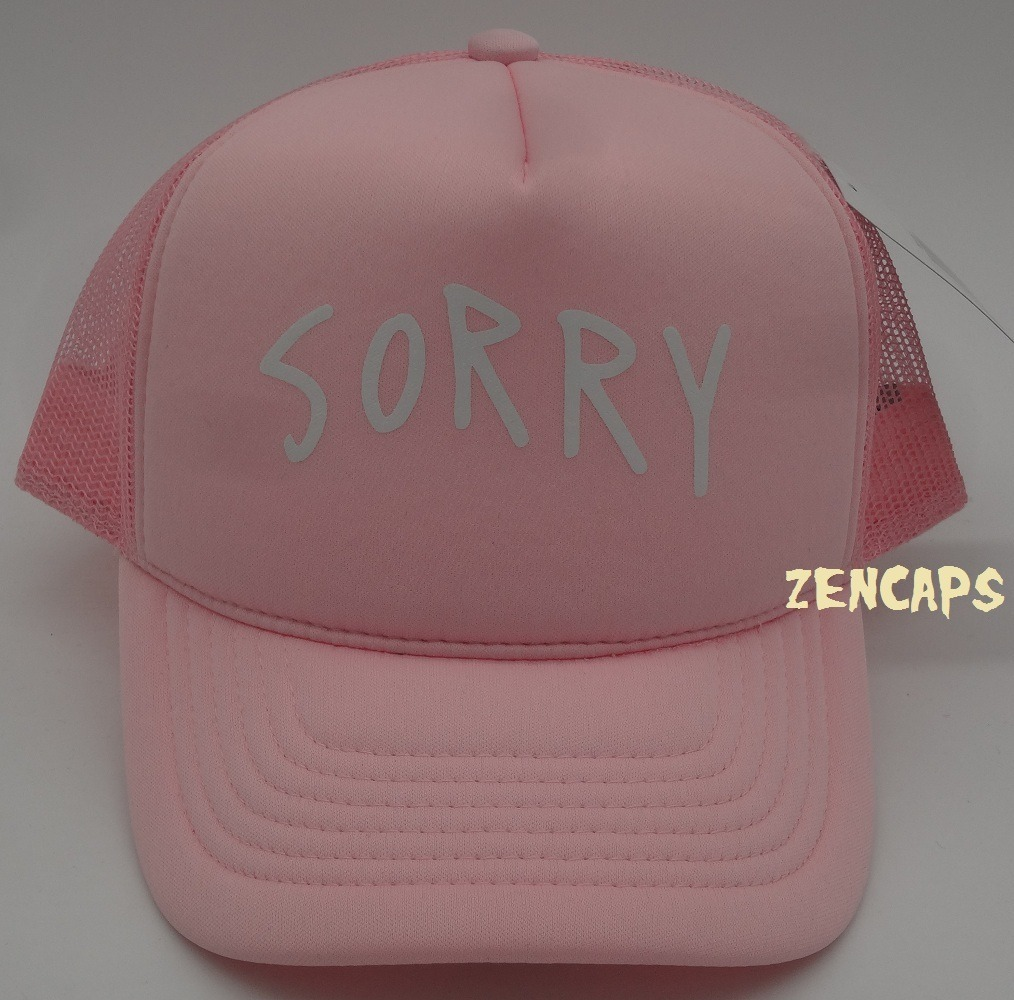 Boné Justin Bieber Sorry Silk Rosa Bebe Trucker Aba Curva - R  46 5df8fc2324f