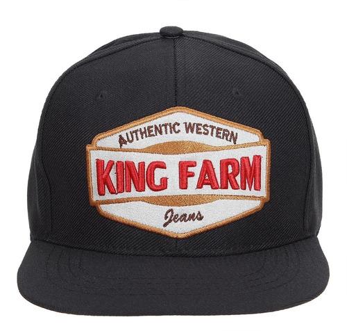 Boné King Farm Aba Reta Preto E Vermelho - R  87 353cf3a0f44