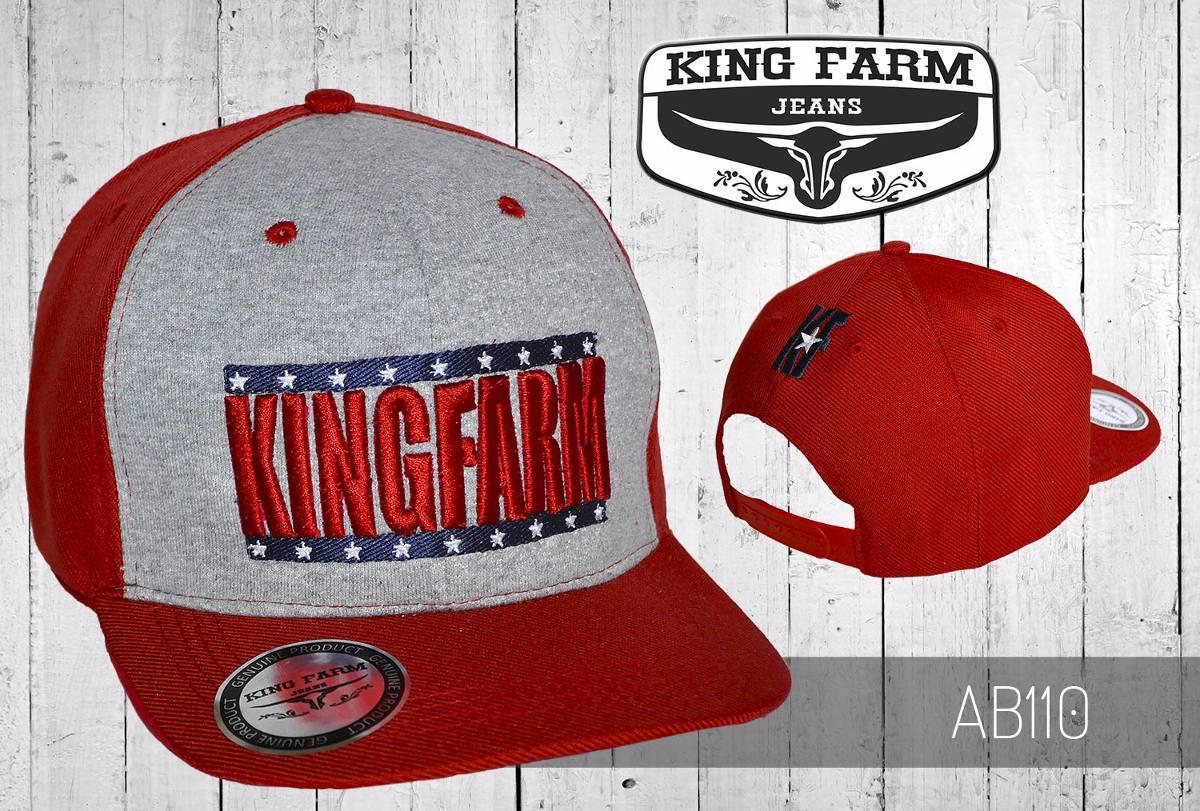 boné king farm snap back aba reta cinza e vermelho. Carregando zoom. 743e96a0faf