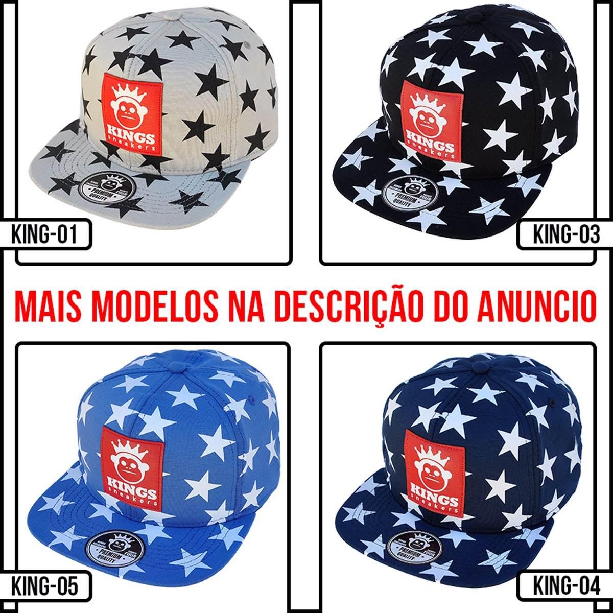 Boné Kings Sneakers Estrelado Aba Reta Snapback - R  29 49c2364b3e1