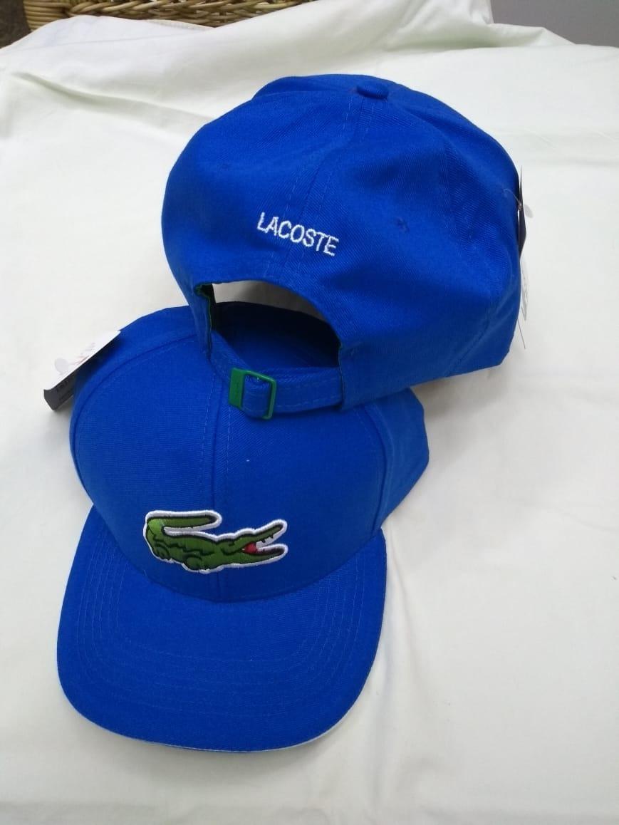 Boné Lacoste Big Croc Azul Marinho Aba Curva Fita Fivela - R  49 65608d77f59