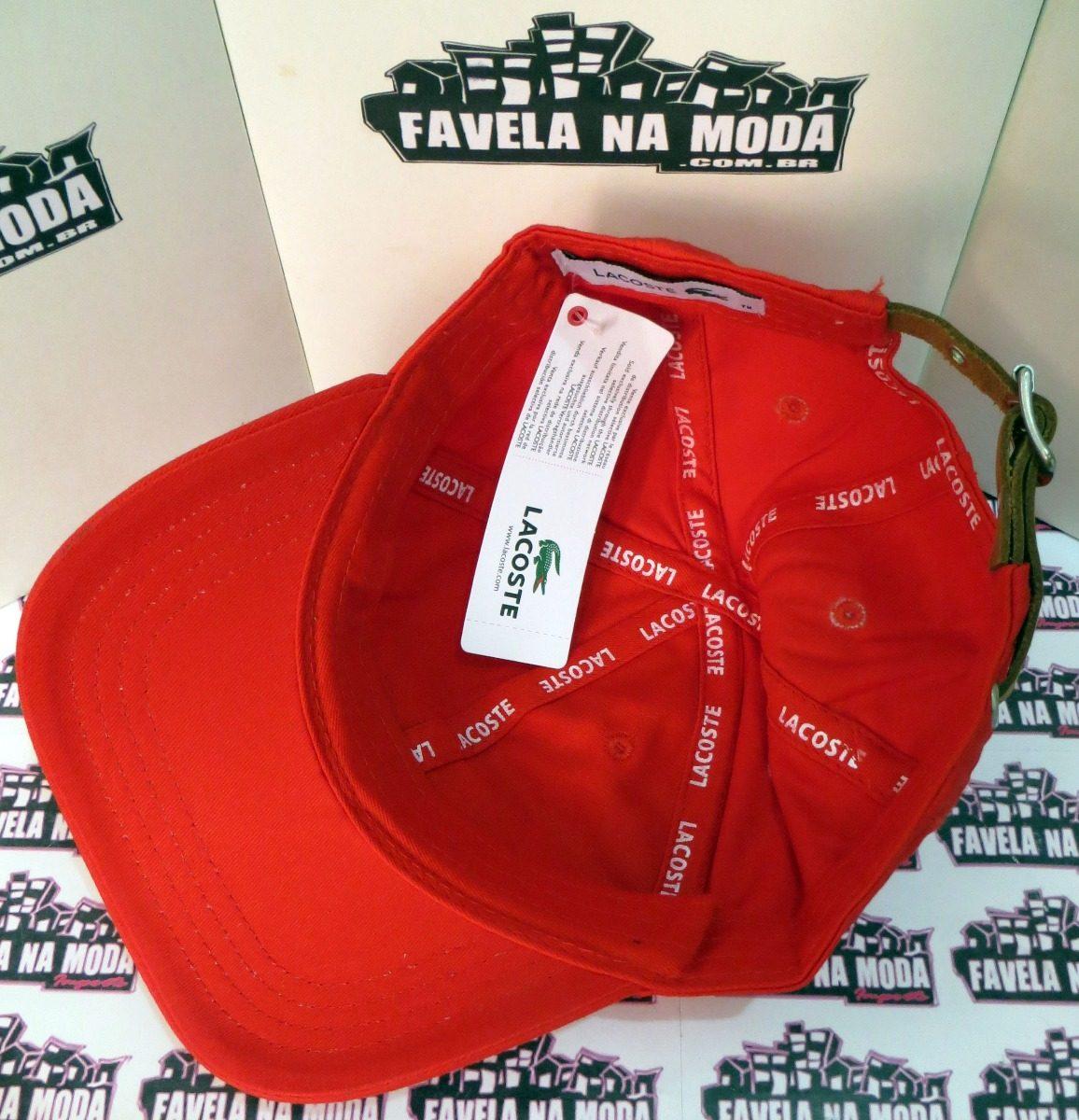 ... ba1fa06f725 boné lacoste big croc (vermelho) - fivela de couro + brinde. 9d54fcbb0dd