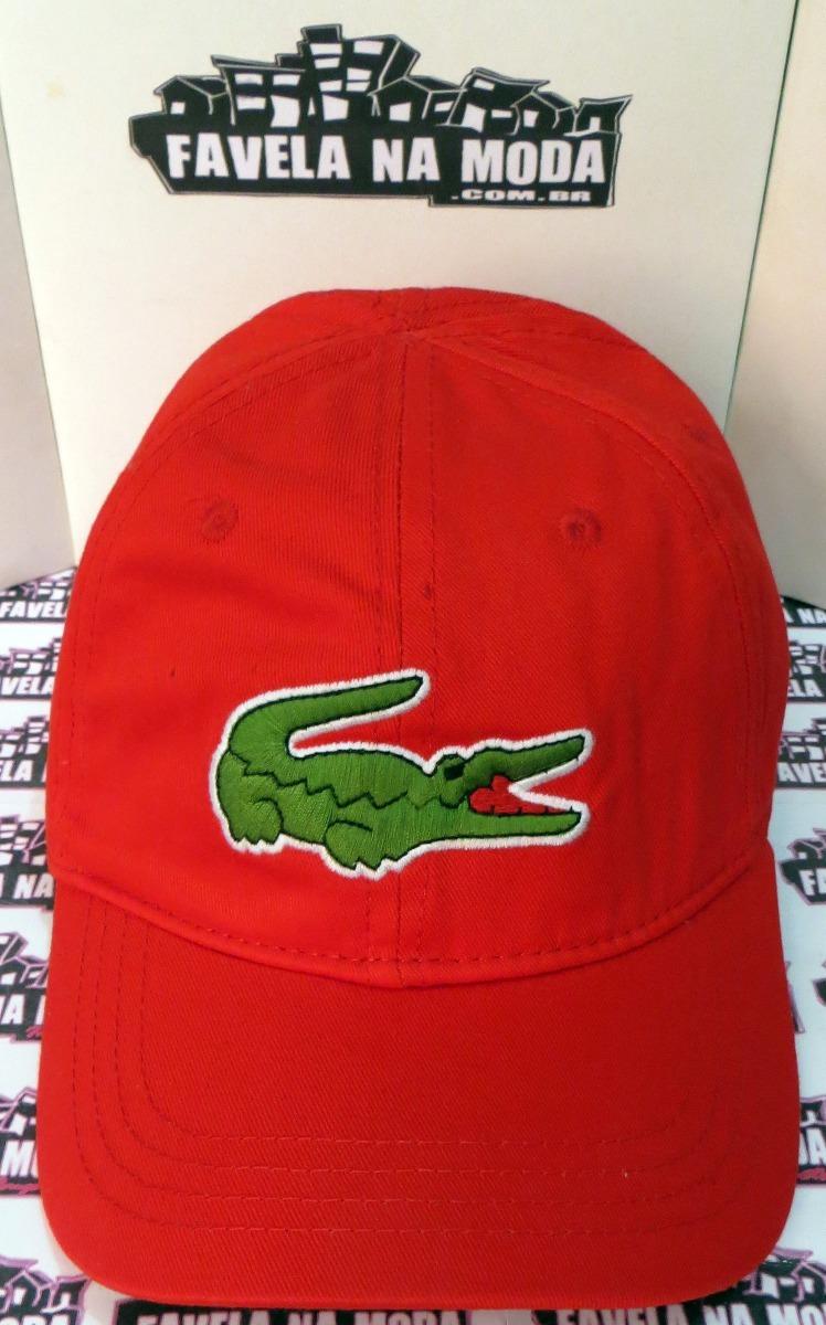 boné lacoste big croc (vermelho) - fivela de couro + brinde. Carregando  zoom. 2b085aa207