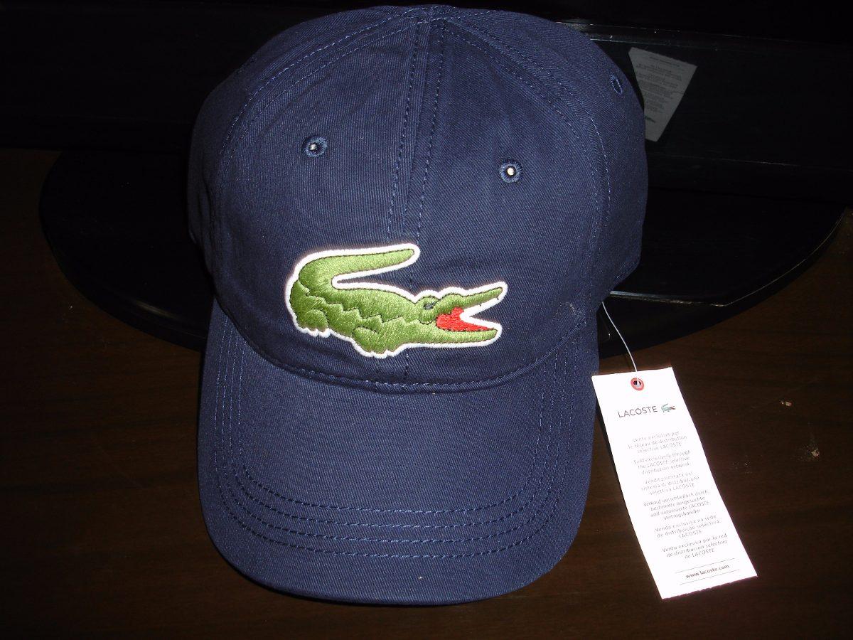 a6723ad2dfe73 boné lacoste gabardini crocodilo big 8 cm navy blue. Carregando zoom.