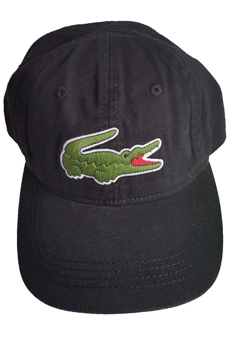 1e8afe18cde13 Boné Lacoste Original Preto Big Croc - R  279,00 em Mercado Livre