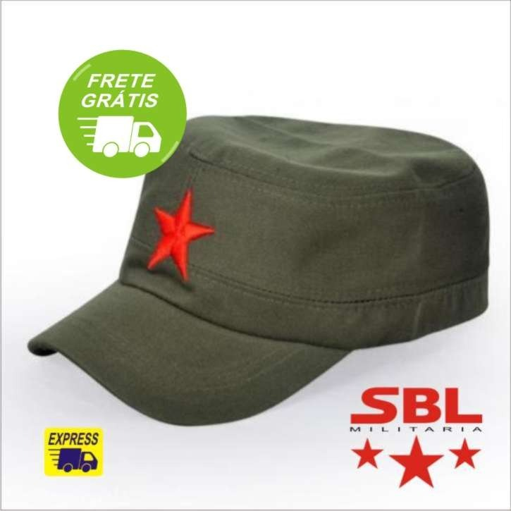 Boné Militar Verde Oliva Com Estrela Vermelha Russia China - R  84 ... 19a3cd5008f