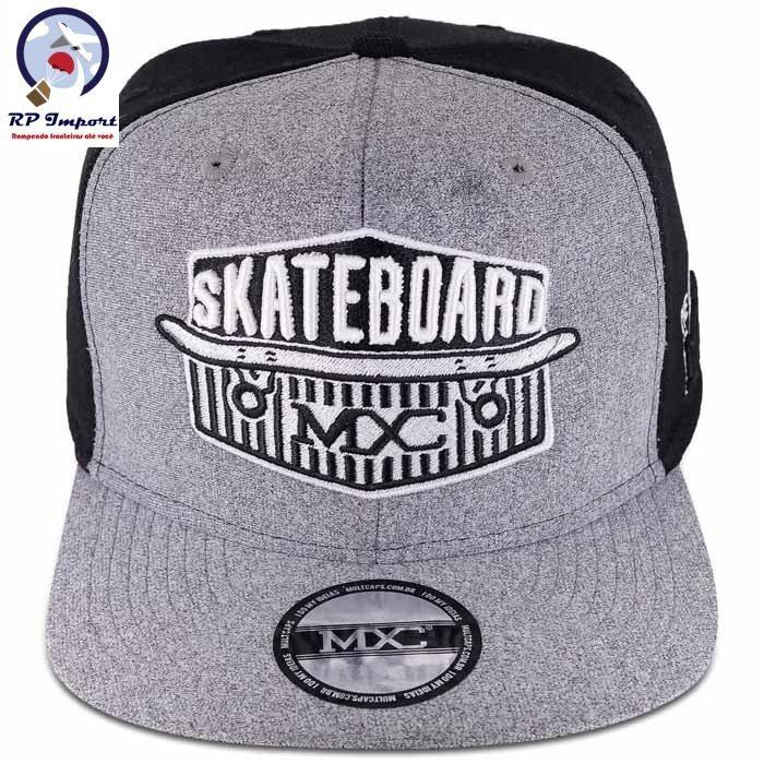 e4c997d4fb000 Boné Mxc Aba Reta Cinza Preto Skateboard Snapback Original - R  69 ...