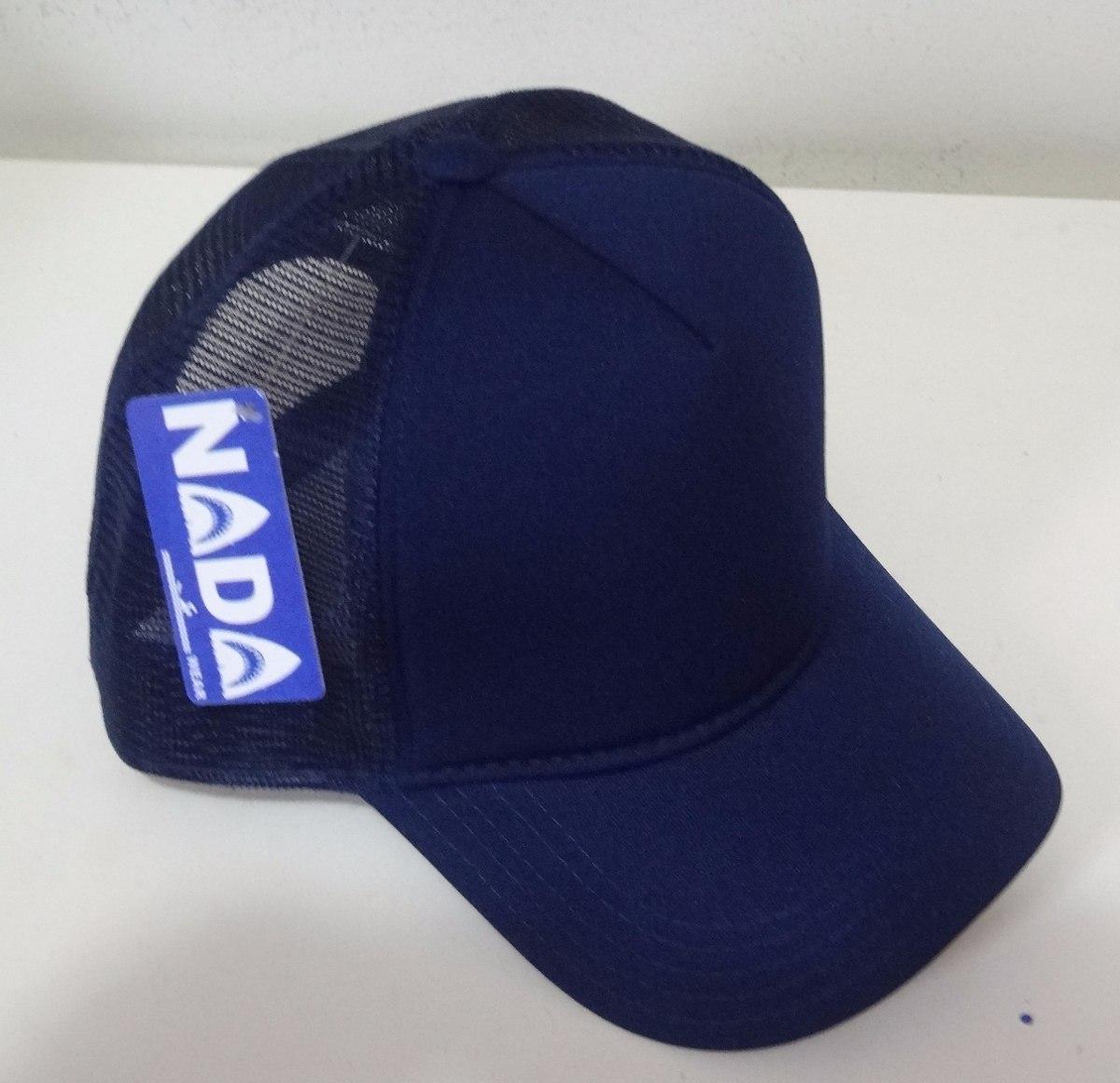 b3609417ab2e9 Boné Nada Wear Trucker Tela Cap Azul Marinho. - R  40