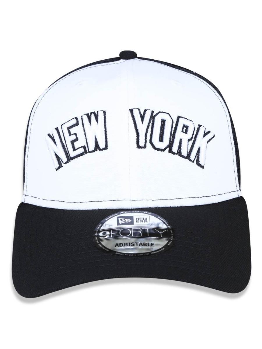 bf8bc3c0e688e Boné New Era 9forty Ny Yankees Trucker Snapback Curvo Branco - R ...
