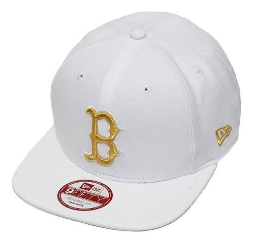 boné new era aba reta snapback mlb boston of gold branco