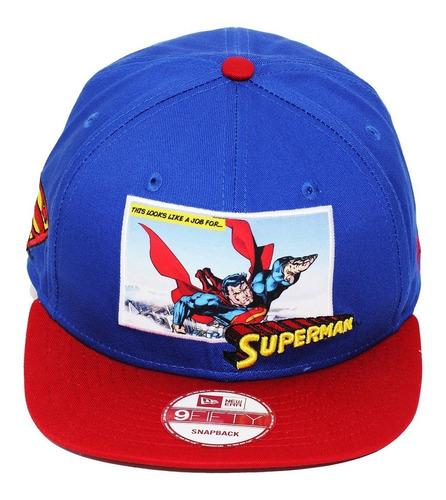 boné new era aba reta snapback superman panel - azul