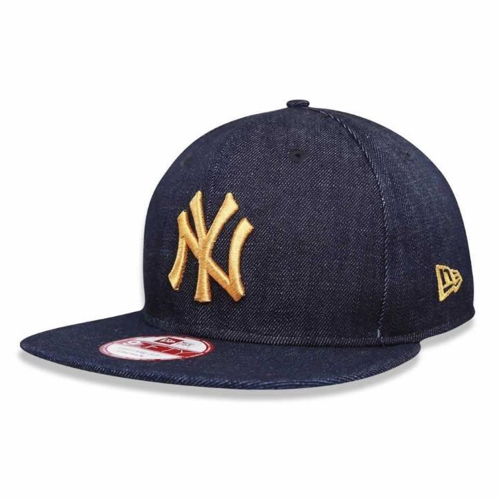 Boné New York Yankees Strapback Jeans Logo Gold Mlb New Era - R  173 ... 1f24e6914fb
