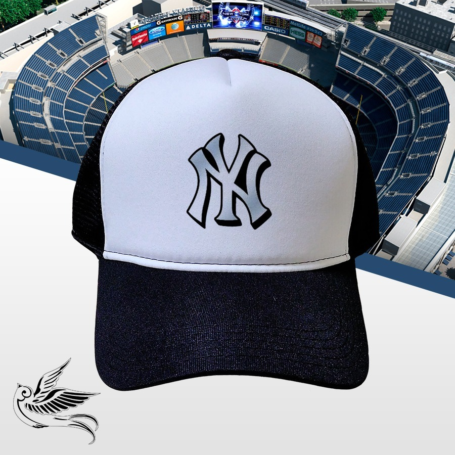 Boné Ny Yankees Logo Preto E Branco Trucker Frete Grátis - R  65 4a0fec9b056
